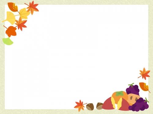 秋の味覚と紅葉のフレーム飾り枠イラスト 無料イラスト かわいいフリー