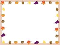 秋の味覚と紅葉の囲みフレーム飾り枠イラスト