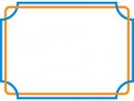 オレンジ色×青色の交差した線フレーム飾り枠イラスト