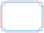 水色とピンク色が交差した線のフレーム飾り枠イラスト