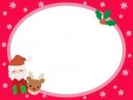 サンタとトナカイと柊のクリスマスフレーム飾り枠イラスト