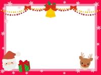 サンタとトナカイとベルのクリスマスフレーム飾り枠イラスト