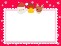 サンタとトナカイとベルのもこもこクリスマスフレーム飾り枠イラスト