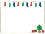 クリスマス・靴下とツリーのフレーム飾り枠イラスト