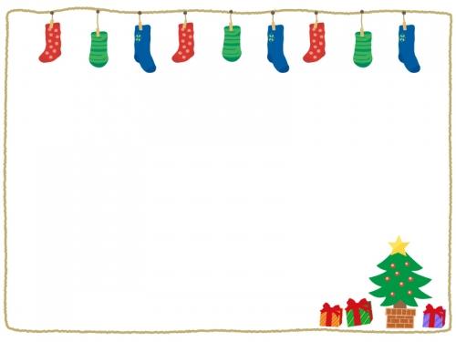 クリスマス靴下とツリーのフレーム飾り枠イラスト 無料イラスト