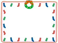クリスマス・靴下とリースのフレーム飾り枠イラスト