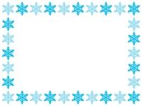 雪の結晶の囲み枠のフレームイラスト