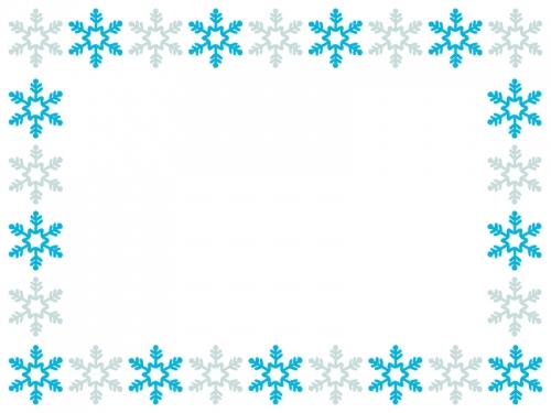 雪の結晶の囲み枠のフレームイラスト02 無料イラスト かわいいフリー