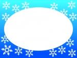 雪の結晶の楕円形フレーム飾り枠イラスト