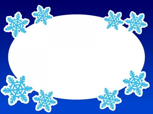 雪の結晶の楕円形フレーム飾り枠イラスト02
