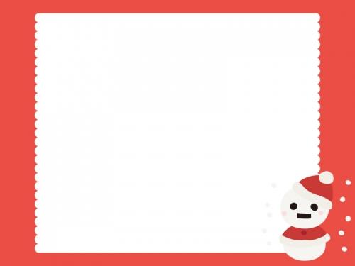 かわいい雪だるまサンタのフレーム飾り枠イラスト