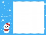 雪だるまサンタの青いクリスマスフレーム飾り枠イラスト