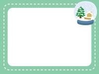 スノードームの冬フレーム飾り枠イラスト