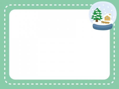 スノードームの冬フレーム飾り枠イラスト 無料イラスト かわいいフリー