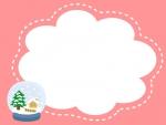 スノードームの冬(ピンク)フレーム飾り枠イラスト