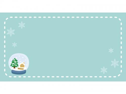 スノードーム横長冬のフレーム飾り枠イラスト 無料イラスト