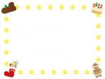 クリスマスケーキ・お菓子ブーツのフレーム飾り枠イラスト