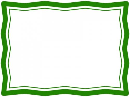 緑色のシンプルなギザギザのフレーム飾り枠イラスト