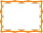 オレンジ色のシンプルなギザギザのフレーム飾り枠イラスト
