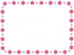 大小の小花のピンクフレーム飾り枠イラスト