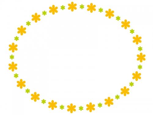 大小の小花の橙フレーム飾り枠イラスト