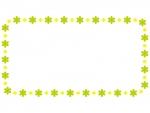 大小の小花の黄緑フレーム飾り枠イラスト