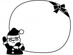 サンタのプレゼント袋の白黒クリスマスフレーム飾り枠イラスト
