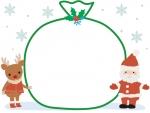 サンタとトナカイとプレゼント袋のクリスマスフレーム飾り枠イラスト