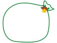 大きなプレゼント袋のクリスマスフレーム飾り枠イラスト