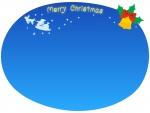 空飛ぶサンタとクリスマスベルのフレーム飾り枠イラスト