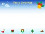 空飛ぶサンタとクリスマスベルの上下フレーム飾り枠イラスト