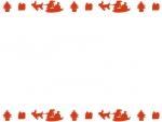 空飛ぶサンタの上下(赤)フレーム飾り枠イラスト