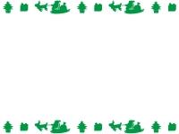 空飛ぶサンタの上下(緑)フレーム飾り枠イラスト