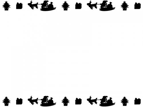 空飛ぶサンタの上下(黒)フレーム飾り枠イラスト