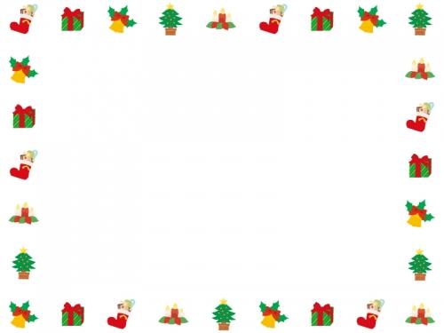 かわいいクリスマスの囲みフレーム飾り枠イラスト 無料イラスト