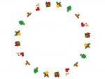 かわいいクリスマスの丸い囲みフレーム飾り枠イラスト