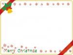 リボンを掛けたクリスマスカード風フレーム飾り枠イラスト