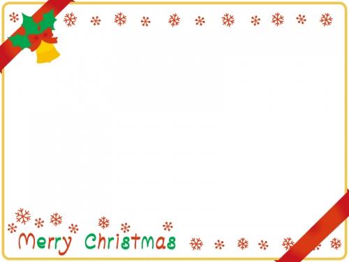 リボンを掛けたクリスマスカード風フレーム飾り枠イラスト 無料