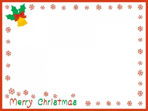雪の囲みの赤いクリスマスフレーム飾り枠イラスト