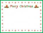 雪の囲みの緑のクリスマスフレーム飾り枠イラスト