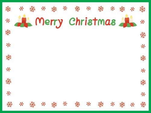 雪の囲みの緑のクリスマスフレーム飾り枠イラスト 無料イラスト