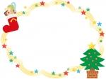 クリスマスツリーのキラキラ星フレーム飾り枠イラスト