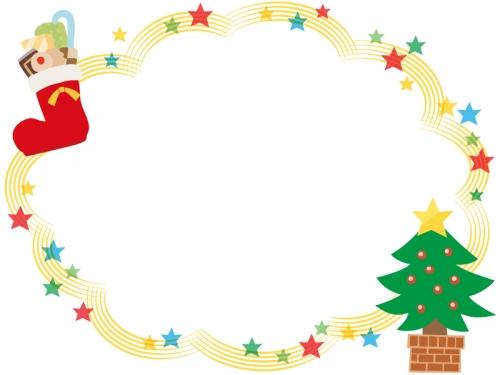 クリスマスツリーのキラキラ星フレーム飾り枠イラスト 無料イラスト