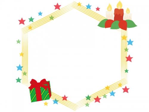 キラキラ星とキャンドルの六角フレーム飾り枠イラスト 無料イラスト