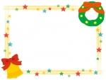 キラキラ星とクリスマスリースの四角フレーム飾り枠イラスト