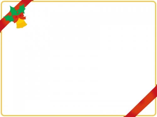 リボンを掛けたクリスマスフレーム飾り枠イラスト