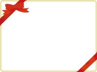 赤いリボンのグリーティングカード風フレーム飾り枠イラスト