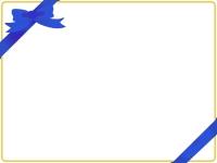 青いリボンのグリーティングカード風フレーム飾り枠イラスト