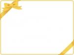 金色リボンのグリーティングカード風フレーム飾り枠イラスト