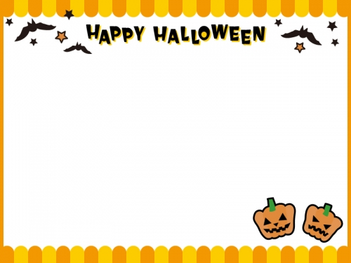 かぼちゃとコウモリのハロウィン文字入りフレーム飾り枠イラスト